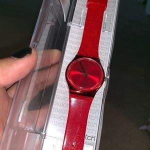 SWATCH watch red sparkle band